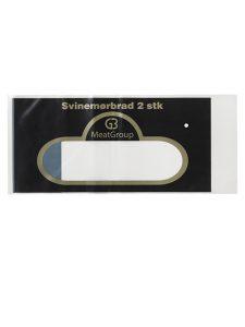 Almindelig pose til vaacum pakning med åben bund og lukket top. Posen er i transparent Polyethylen (PE), med 2 farvet tryk
